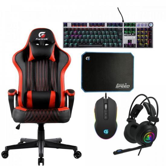 Kit Gamer Profissional Cadeira Gamer Vickers Preta/Vermelha FORTREK + (71910)
