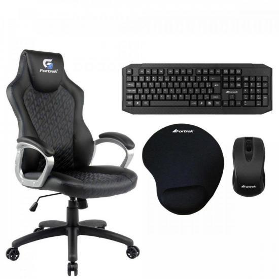 Kit Cadeira Blackfire Preta/Azul FORTREK + Acessórios (71914)