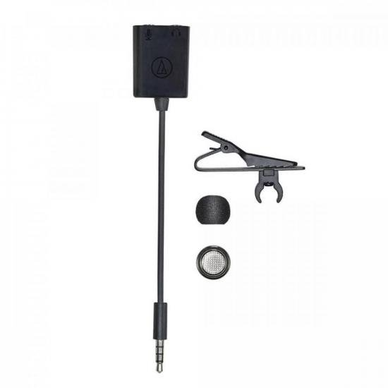 Microfone Condensador Omnidirecional de Lapela ATR3350XIS Preto AUDIO (72291)