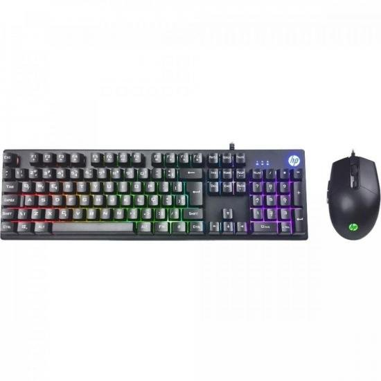 Kit Teclado + Mouse Gamer USB KM300 Preto HP (72378)