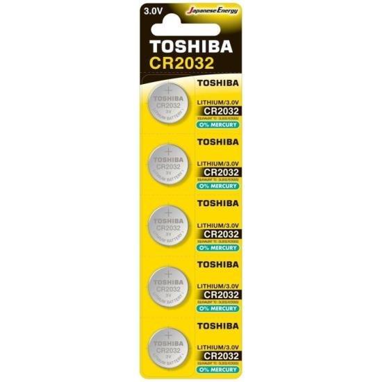 Pilha Moeda Lithium 3V CR2032 TOSHIBA (Cartela com 5 Unid.) (72471)