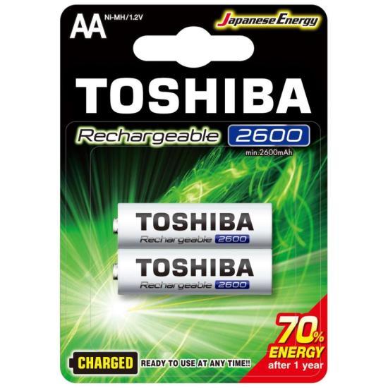 Pilha Recarregável AA 1,2V 2600mAh TNH6GAE TOSHIBA (Cartela com 2 unid.)