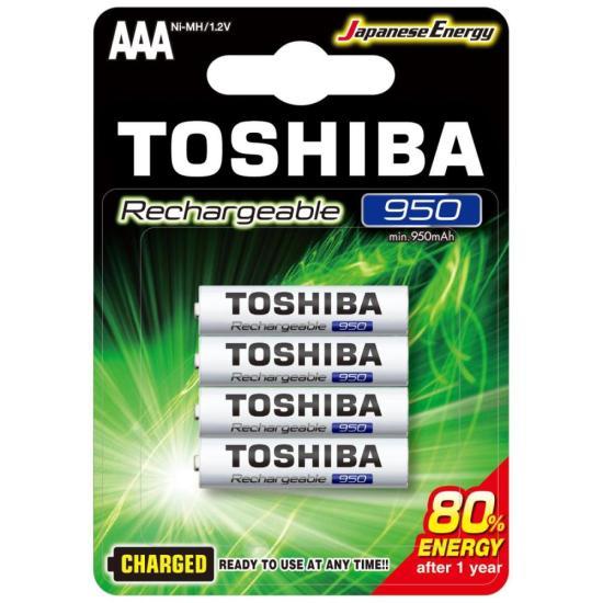 Pilha Recarregável AAA 1,2V 950mAh TNH3GAE TOSHIBA (Cartela com 4 unid.)
