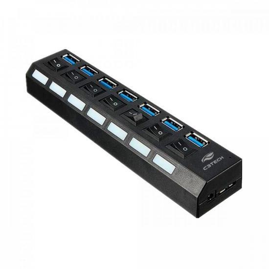 HUB USB 3.0 Portas com Chave HU-S370 Preto C3TECH (73433)