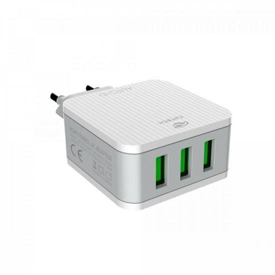 Carregador Universal AC/USB 3 Portas UC-315 Branco C3TECH