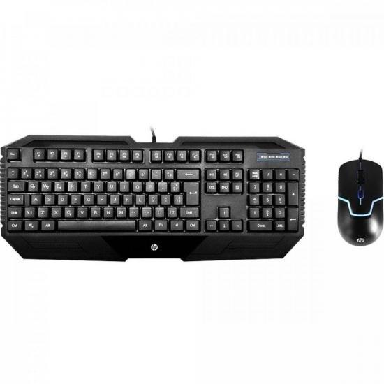 Kit Teclado e Mouse USB Gamer GK1000 Preto HP