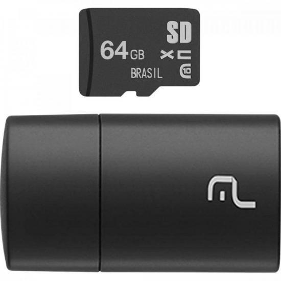 Pen Drive 64GB com Cartão SD MC164 Preto MULTILASER