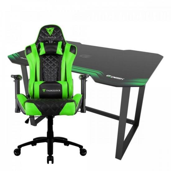 Kit Cadeira Gamer THUNDERX3 TGC12 VD + Mesa Fortrek Verde (75184)